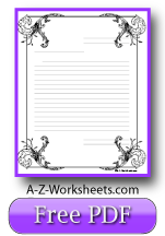 Printable Lined Paper - Fancy Writing Paper Ornate Stationery