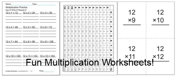 70+ Fun Multiplication Worksheets, Charts, Flash Cards