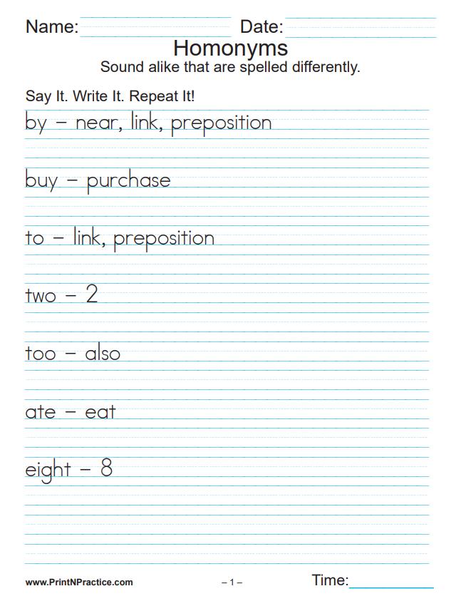 Printable Homonym Worksheets
