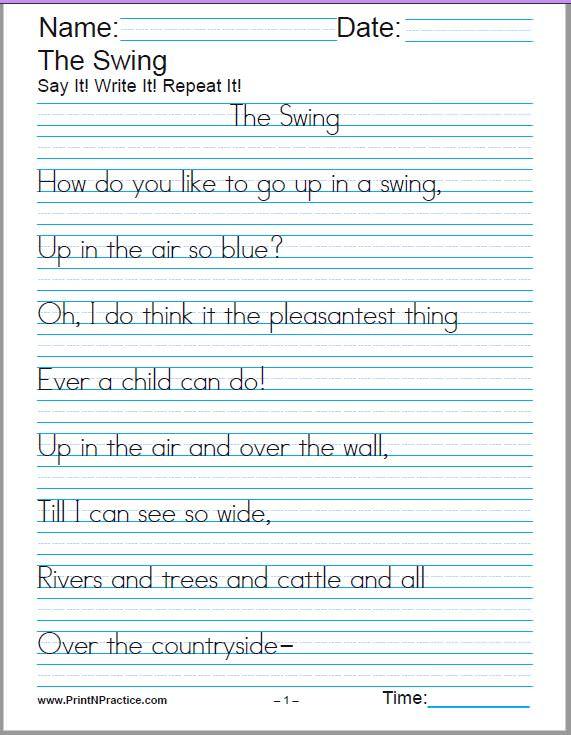 hand writing sheets