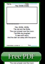 Hey Diddle Diddle Nursery Rhyme Reading Worksheets