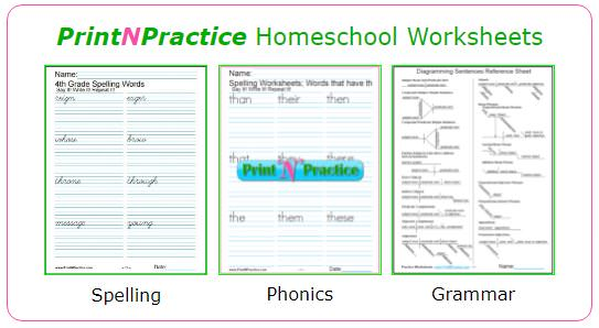 Homeschool Worksheets: Math, phonics, spelling, grammar, handwriting, and more!
