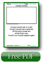 Humpty Dumpty Reading Worksheets For Kids