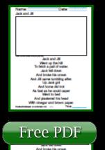 Jack and Jill Printable 1st Grade Reading Worksheets