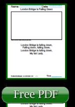 London Bridge is Falling Down Nursery Rhymes Kindergarten Reading Comprehension Worksheets