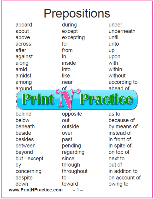 List of Prepositions Reverence Sheet and copywork worksheets.