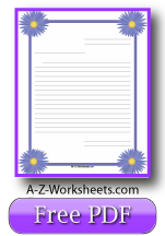 Printable Lined Writing Paper - Purple Asters