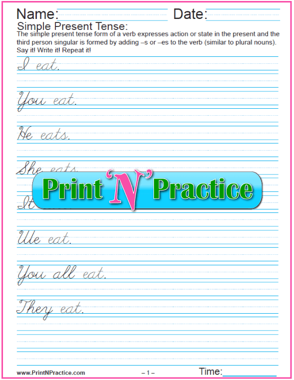 Simple Present Tense Worksheets for English Tenses and for cursive writing practice.