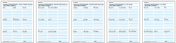 Printable Spelling Worksheets - Practice the spelling words three times each.