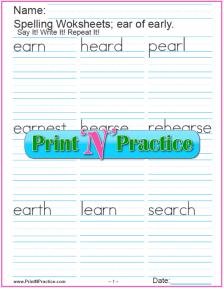 ear Words - Printable Phonics Worksheet
