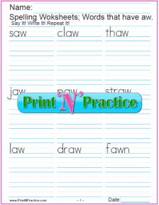 aw Words - Phonics au sound worksheets