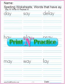 ay Words - 3 Printable Phonics Worksheets