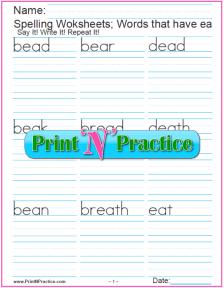ea Words Phonics Worksheets
