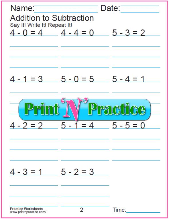 Practice Kindergarten Subtraction Worksheet: Subtracting 4 and 5