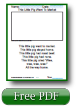 This Little Pig Went to Market Kindergarten Reading Worksheets