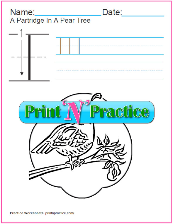Christmas Math Worksheets - Partridge in a Pear Tree coloring page.