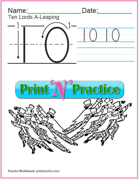 Christmas Math Worksheets: Twelve Days - Ten Lords A Leaping Coloring Page and Worksheet.