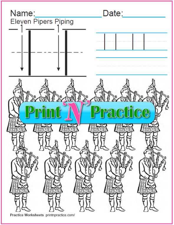 Christmas Math Worksheets: Twelve Days of Christmas - Eleven Pipers Piping Worksheet and coloring page.