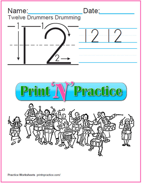 Christmas Math Worksheets: Twelve Days - Twelve Drummers Drumming Worksheet to print and color.