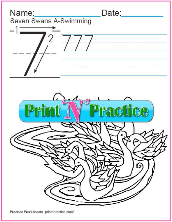 Christmas Math Worksheets: Twelve Days of Christmas - Seven Swans A Swimming Worksheet and Coloring Page.