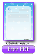 Printable Lined Writing Paper - Winter
